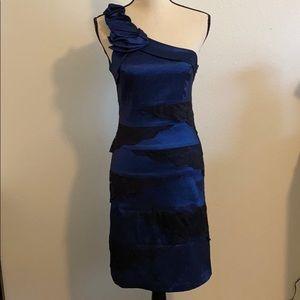 A-List Blue w/ Black Lace One Shoulder Dress